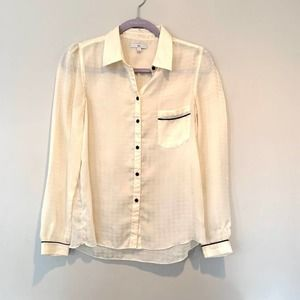 GAP Sheer Hounds Tooth Button Down Top